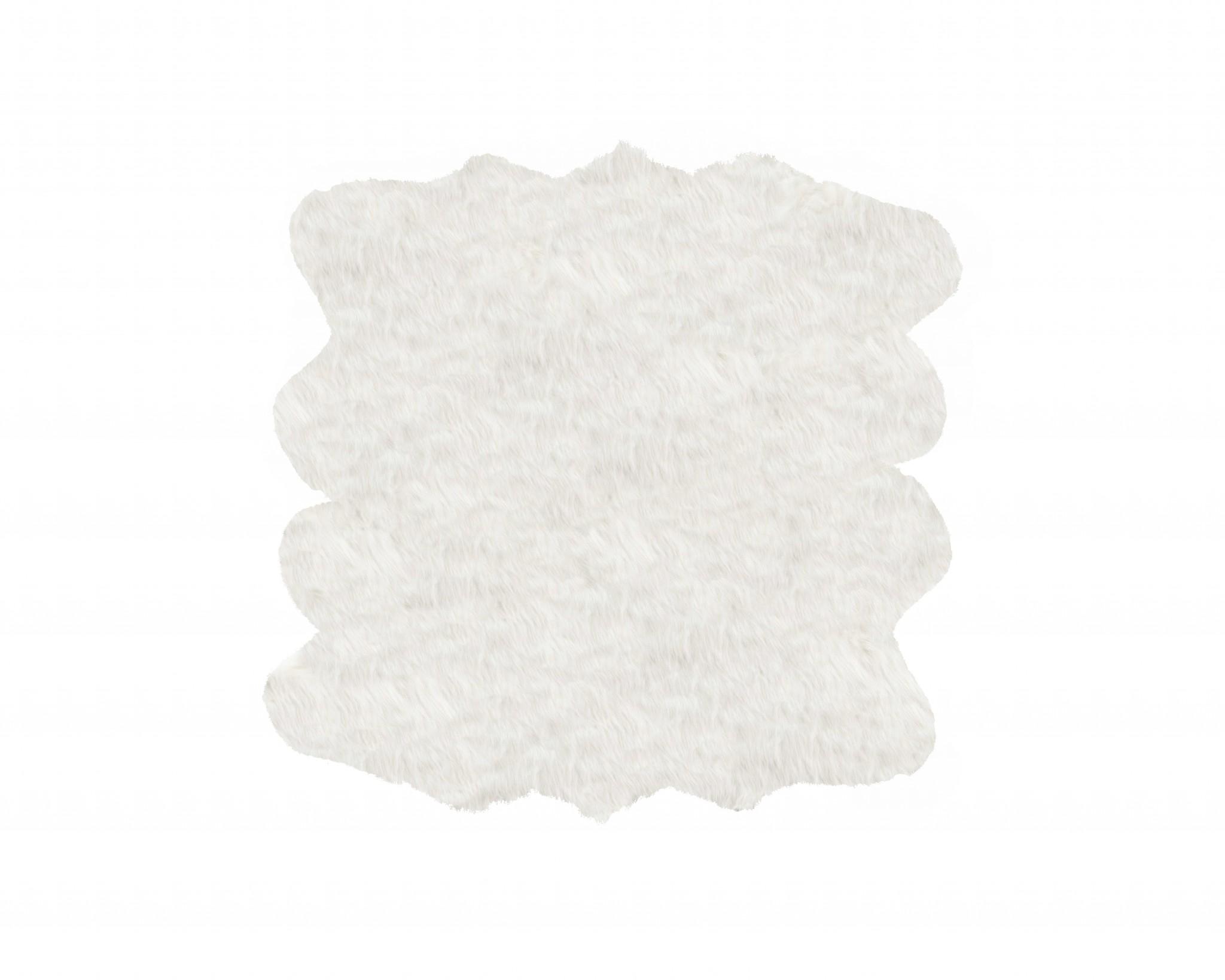 5' X 6' X 1.5' Off White Octo Faux Sheepskin Area Rug