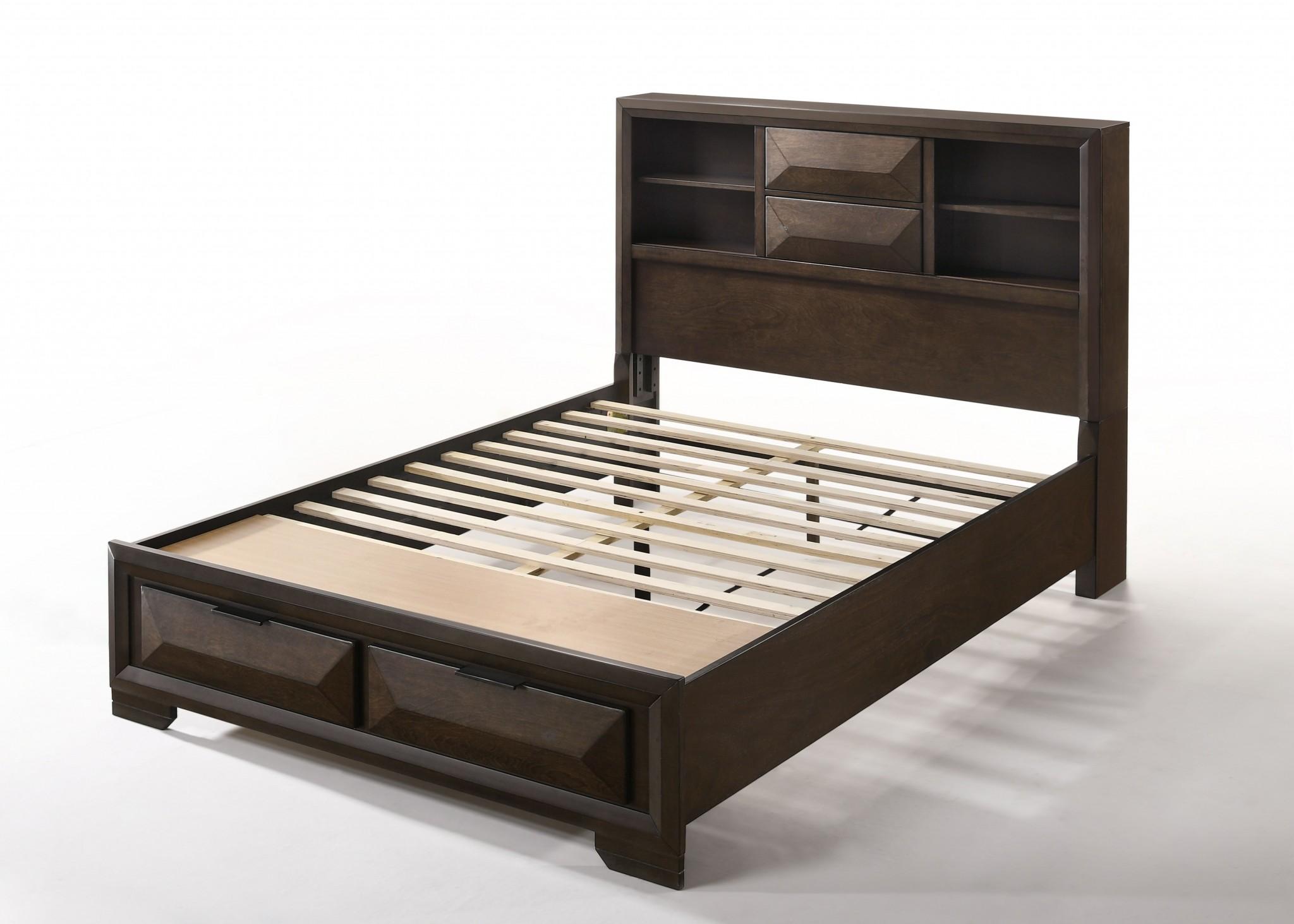Queen Storage Bed In Espresso - Rubber Wood, Tropical Wood, Birch Betula Wood Veneer, Laminated Veneer Lumber Slats, Plywood, Chipboard, Mdf