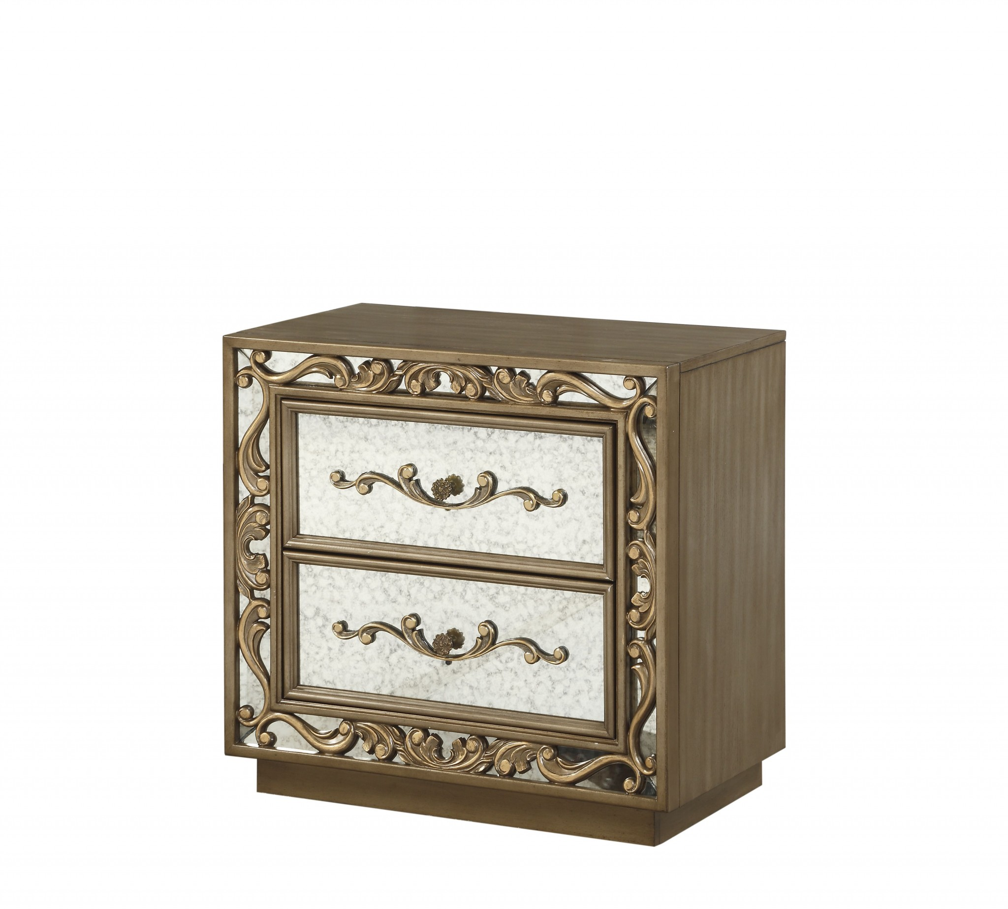 32 X 18 X 28 Antique Gold And Mirrored Poplar Nightstand