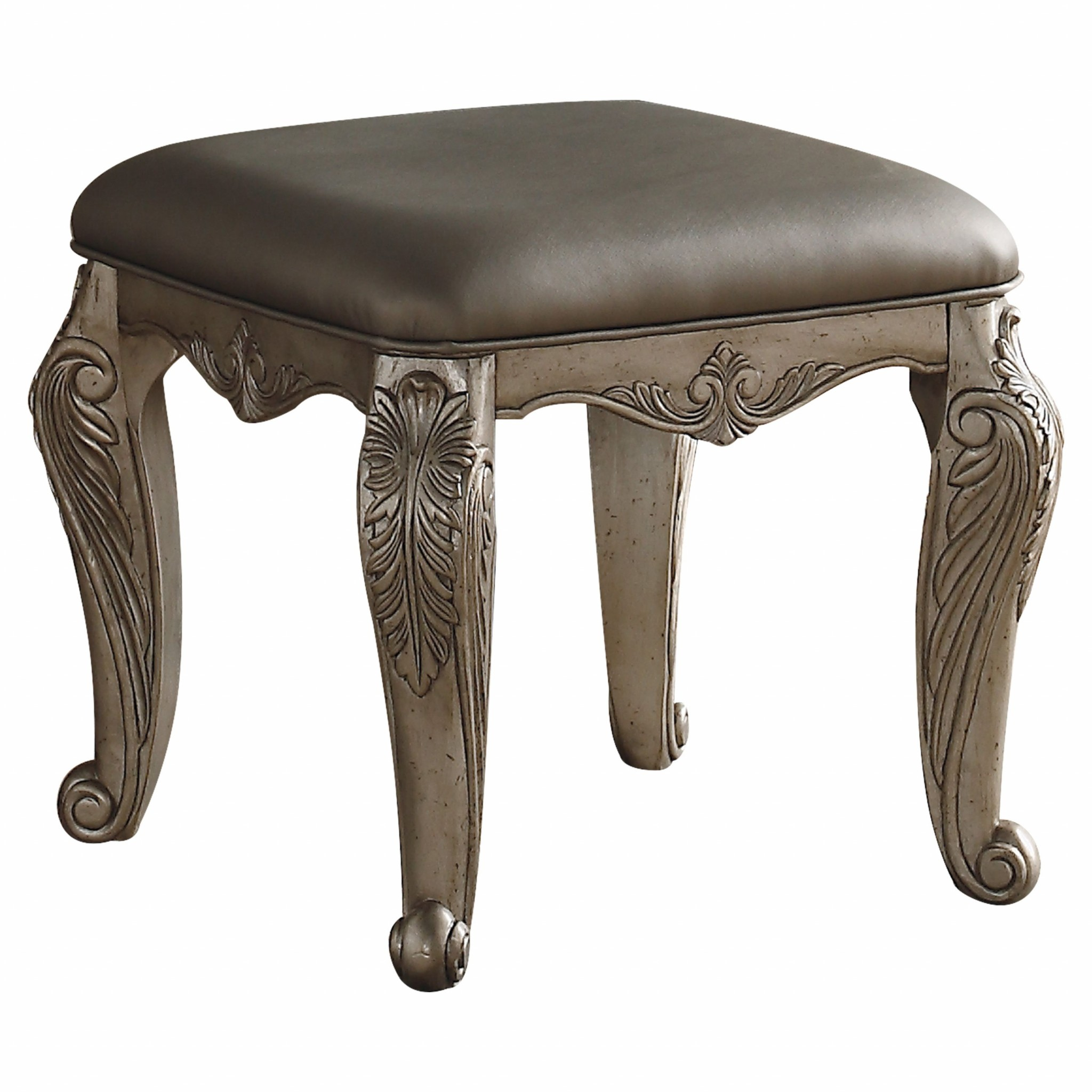 Swell 20 X 20 X 19 Antique Champagne Pu Vanity Stool Pdpeps Interior Chair Design Pdpepsorg