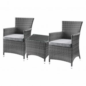 "24"" X 24"" X 35"" 3Pc Gray Fabric And Wicker Patio Bistro Set"