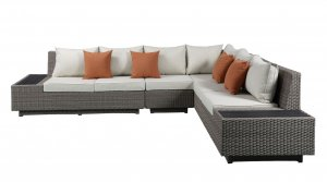 """126"""" X 100"""" X 30"""" Beige Fabric And Gray Wicker Patio Sectional And Cocktail Table"""