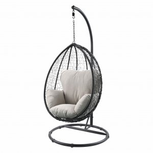 Beige and Black Hanging Pod Wicker Patio Swing Chair