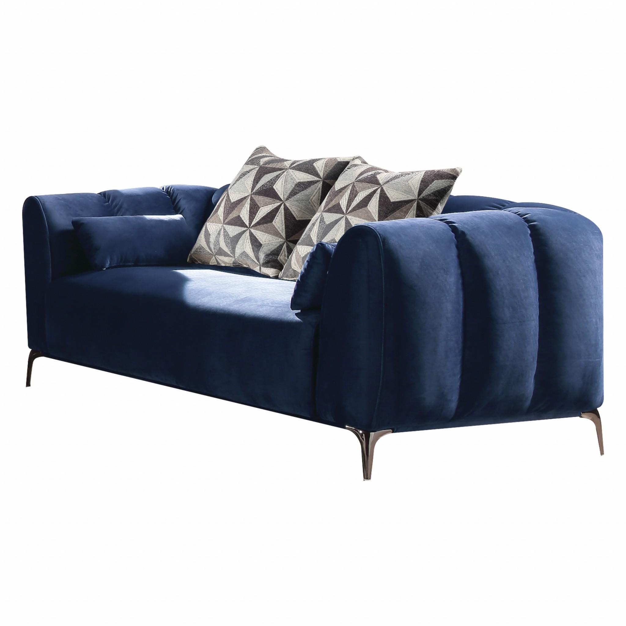 Marvelous 80 X 42 X 31 Blue Velvet Loveseat Squirreltailoven Fun Painted Chair Ideas Images Squirreltailovenorg