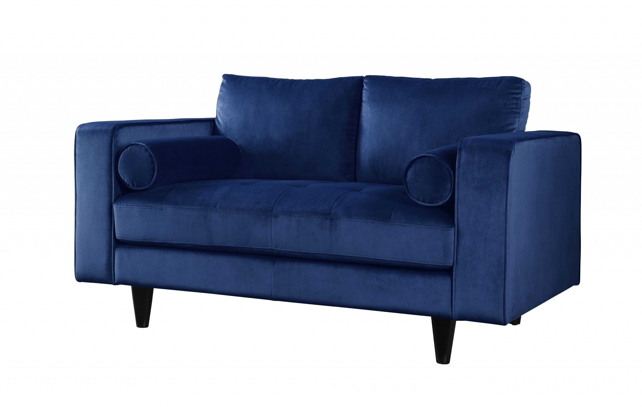 Stupendous 60 X 38 X 35 Navy Velvet Loveseat Machost Co Dining Chair Design Ideas Machostcouk