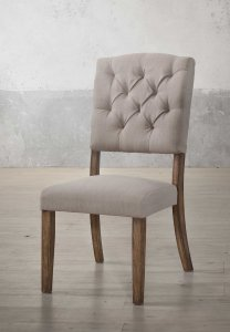 """19"""" X 23"""" X 43"""" 2pc Cream Linen And Weathered Oak Side Chair"""