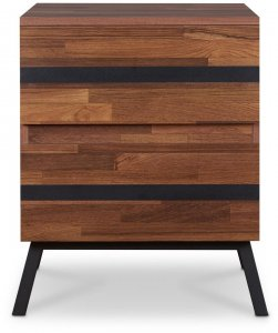 """18"""" X 20"""" X 23"""" Walnut And Sandy Black Particle Board End Table"""