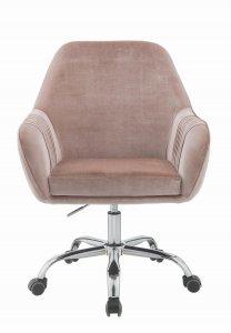 Stylish Mauve Rose Velvet Office Desk Chair on Wheels