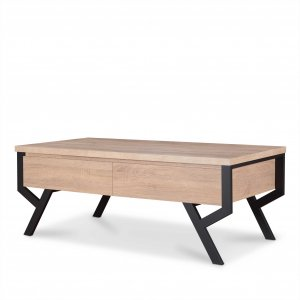 """47"""" X 24"""" X 17"""" Natural And Black Particle Board Coffee Table"""