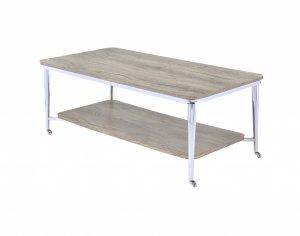"48"" X 24"" X 19"" Gray Oak And Chrome Metal Tube Coffee Table"