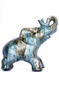 "10"" X 6"" X 10.5"" Turquoise Copper And Bronze Ceramic Elephhant"