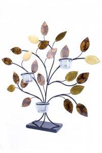 Gold Copper Brown And Orange Metal Leaves Votive Holder
