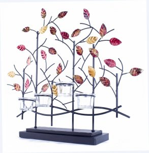 """22'.5"""" X 5"""" X 25'.5"""" Copper, Red And Gold Metal Tree Foiled And Lacquered Votive Holder"""