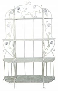 "25"" X 5"" X 68"" Antique White Steel Antique White Bakers Rack with  Shelves"