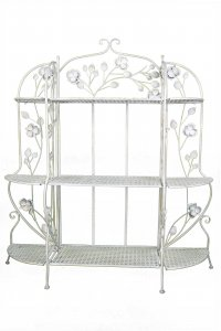 "25"" X 5"" X 50"" Antique White Steel Bakers Rack with  Shelves"