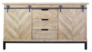 """58"""" X 18"""" X 33"""" Natural Wood Iron  Wood  MDF Buffet Cabinet with  Doors and  Drawers"""