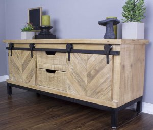 Natural Wood TV Stand with  Doors and  Drawers