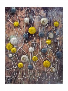 Metallic Multi Color Vertical Wall Panel With 3D Metal Circles And Stems Wall Art