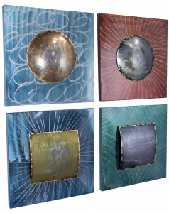 "17"" X 10"" X 16.5"" Metallic Multi Color Metal Layered Metallic Shapes On Square Panels Set"