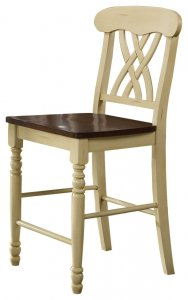 """22"""" X 19.5"""" X 41.5"""" 2pc Buttermilk And Oak Counter Height Chair"""