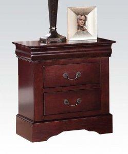 Classic Cherry Finish 2 Drawer Wooden Nightstand