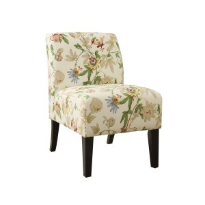Floral Fabric Slipper Accent Chair with Dark Wood Legs