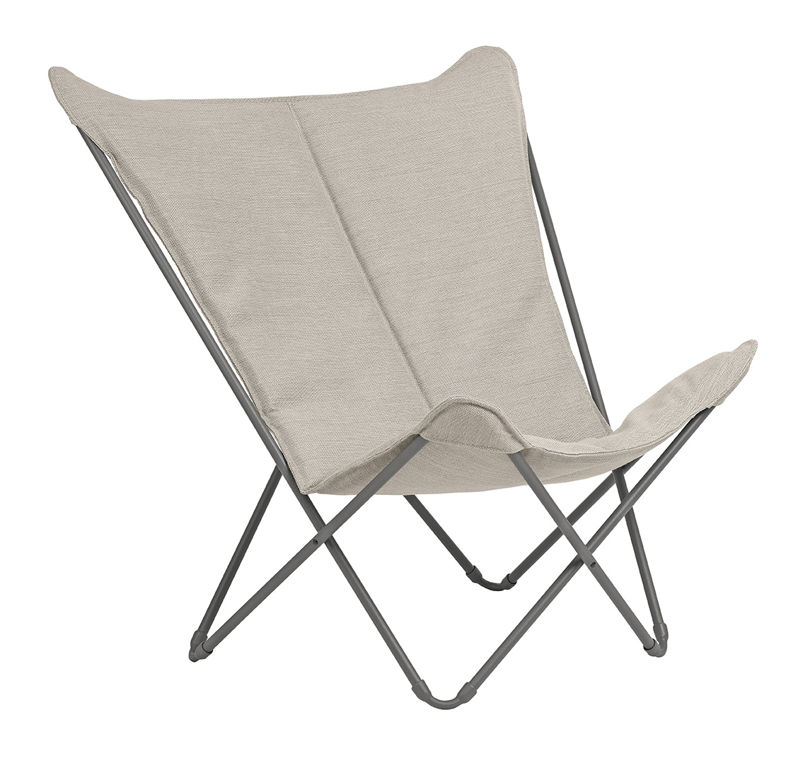 Lounge Chair - Titane Steel Frame - Latte Hedona Fabric
