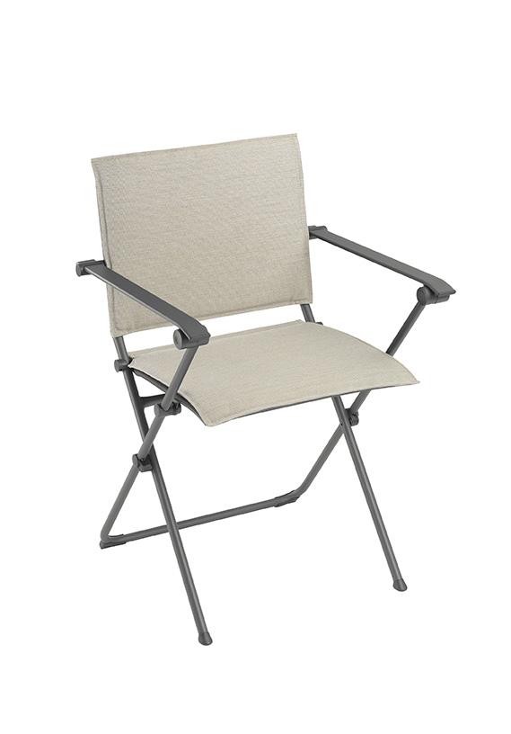 Folding Armchair - Titane Steel Frame - Latte Hedona Fabric