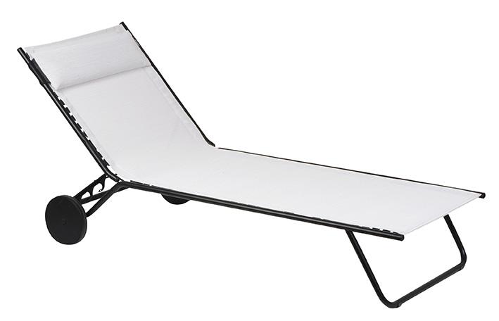 Folding Sunbed - Black Steel Frame - Ecume Duo Fabric
