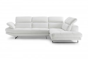 Sectional, Chaise On Right When Facing, White Top Grain Italian Leather, Adjustable Headrest Couch