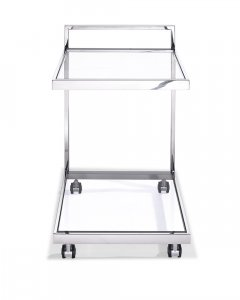 Side Table/ Bar Cart, Clear Glass, Stainless Steel Base On Castors