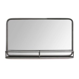 "24"" Chic Rectangular Gunmetal Framed Mirror with Shelf"