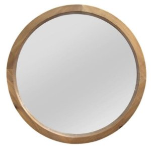 """20"""" Chic Round Wood Framed Wall Mirror"""