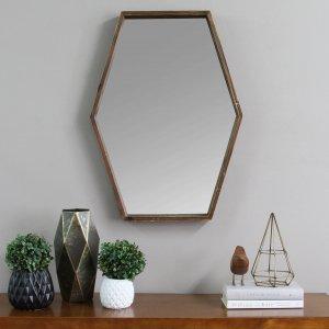 Dark Wood Hexagonal Frame Wall Mirror