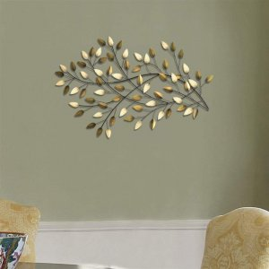 Brushed Gold Flowing Leaves Metal Wall Decor