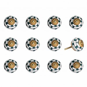 """1.5"""" x 1.5"""" x 1.5"""" White Teal and Gold  Knobs 12 Pack"""