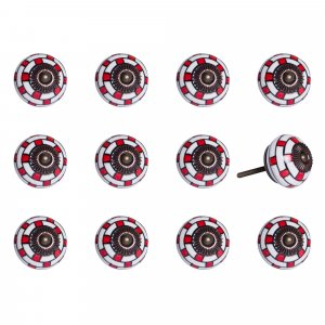 """1.5"""" x 1.5"""" x 1.5"""" White, Red and Navy- Knobs 12-Pack"""