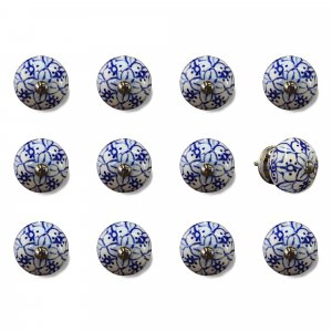"""1.5"""" x 1.5"""" x 1.5"""" White Blue and Silver Knobs 12 Pack"""
