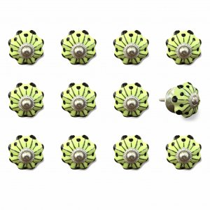 """1.5"""" x 1.5"""" x 1.5"""" Yellow, Green and Silver - Knobs 12-Pack"""