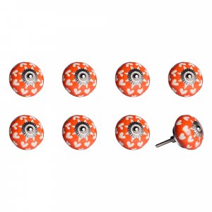 """1.5"""" x 1.5"""" x 1.5"""" Hues Of Orange, White And Silver - Knobs 8-Pack"""