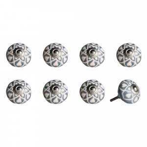 """1.5"""" x 1.5"""" x 1.5"""" Hues Of Gray Cream And Silver  Knobs 8 Pack"""