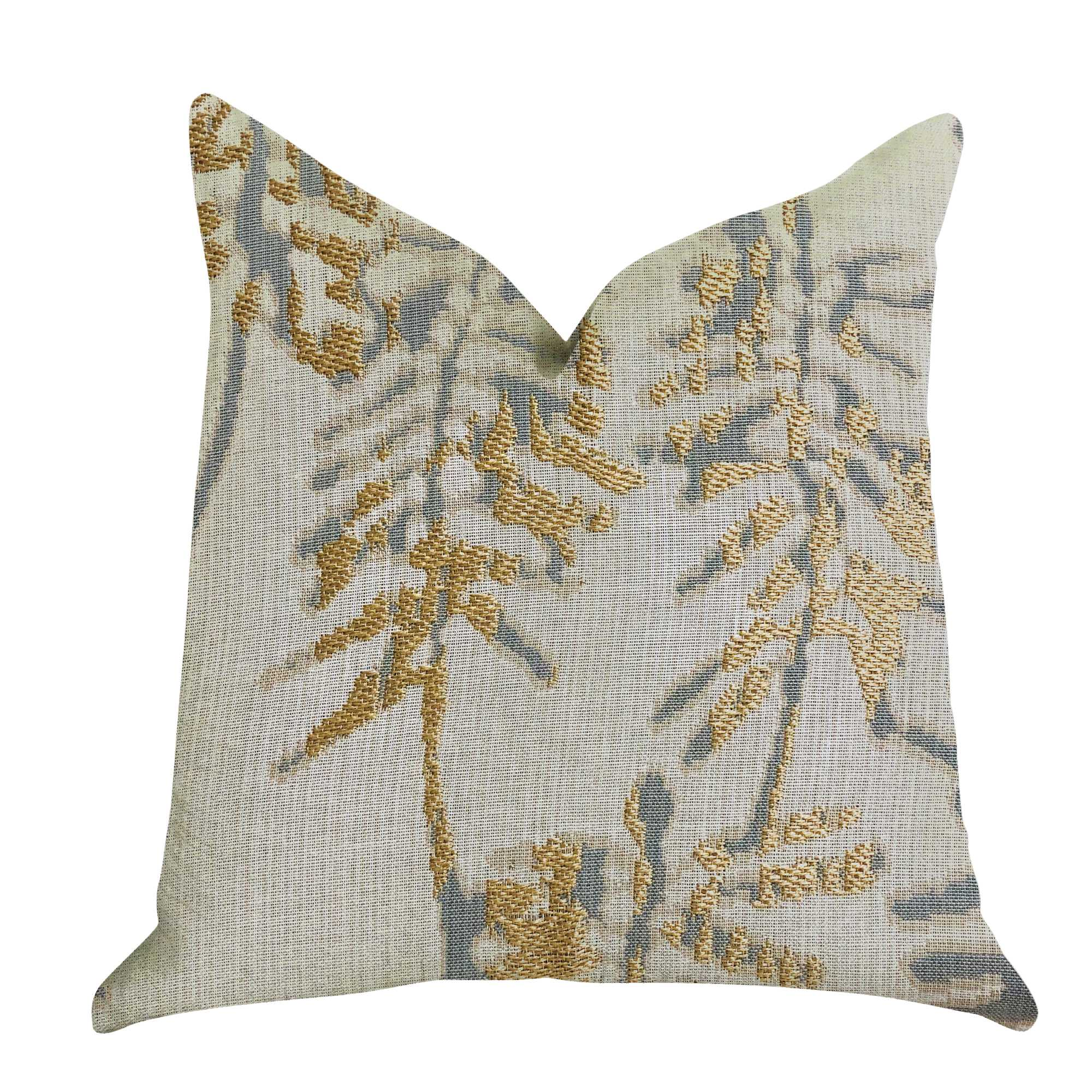 Luxury Throw Pillow in Green and Gold Tones 26in x 26in