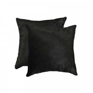 "18"" x 18"" x 5"" Black Torino Cowhide  Pillow 2 Pack"