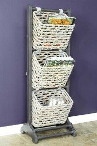 "11'.8"" X 15"" X 42'.25"" Grey Wood, MDF, Water Hyacinth Water Hyacinth Magazine Rack with  Baskets"