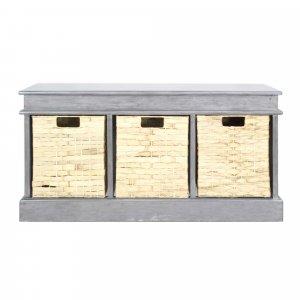 """40"""" X 13"""" X 20"""" Gray MDF Rattan Skin Storage Bench with  Baskets"""