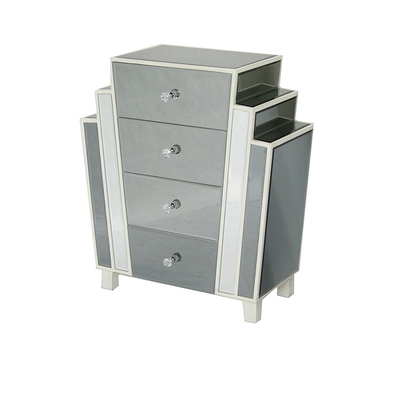 """32"""" Natural MDF, Wood, and Mirrored Glass Accent Cabinet with 4 Drawers"""
