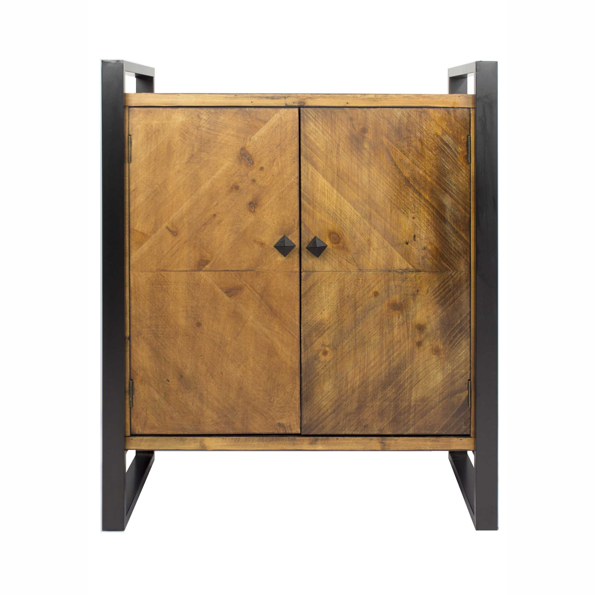 """33.5"""" Natural and White Metal, Wood, and MDF Sideboard with 2 Doors"""