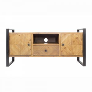 Natural Turquoise Metal Wood MDF TV Stand with a Drawer and  Doors