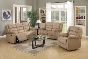 """120"""" Contemporary Beige Fabric Sofa Set"""