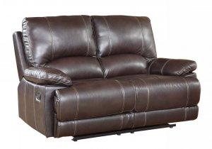 "41"" Stylish Brown Leather Loveseat"